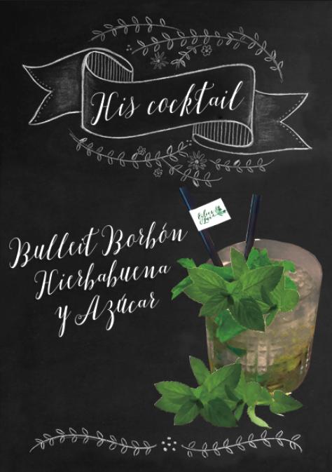 Ejemplo de cóctel personalizado para la novia en una barra de bebidas para bodas