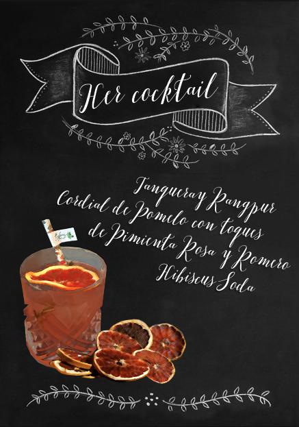 Ejemplo de cóctel personalizado para el novio en una barra de bebidas para bodas